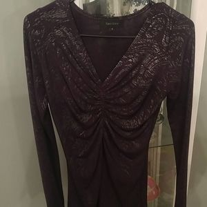 Karen Kane Purple & Silver Metallic Ruched Top